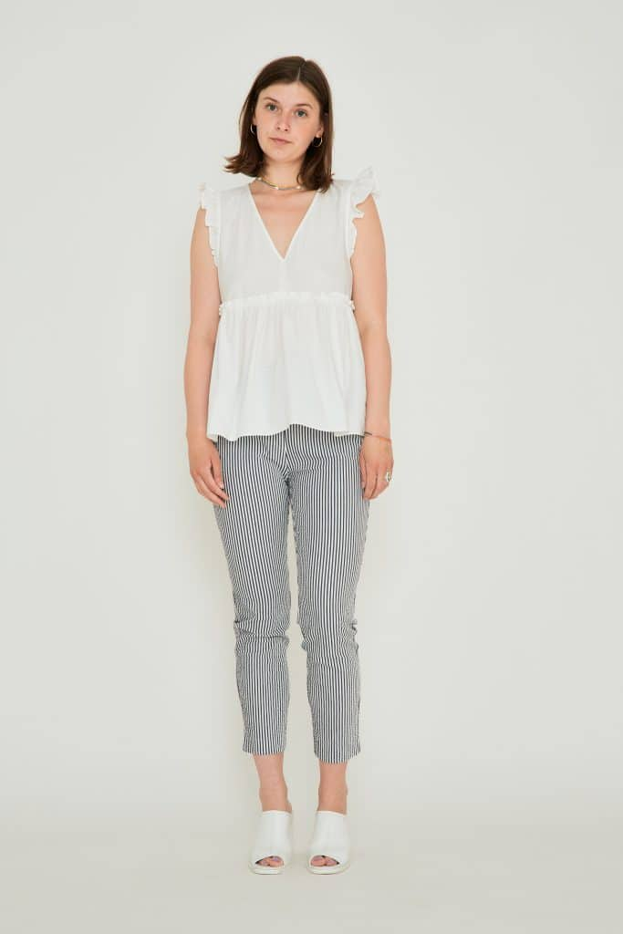 Stribede cropped bomulds chinos